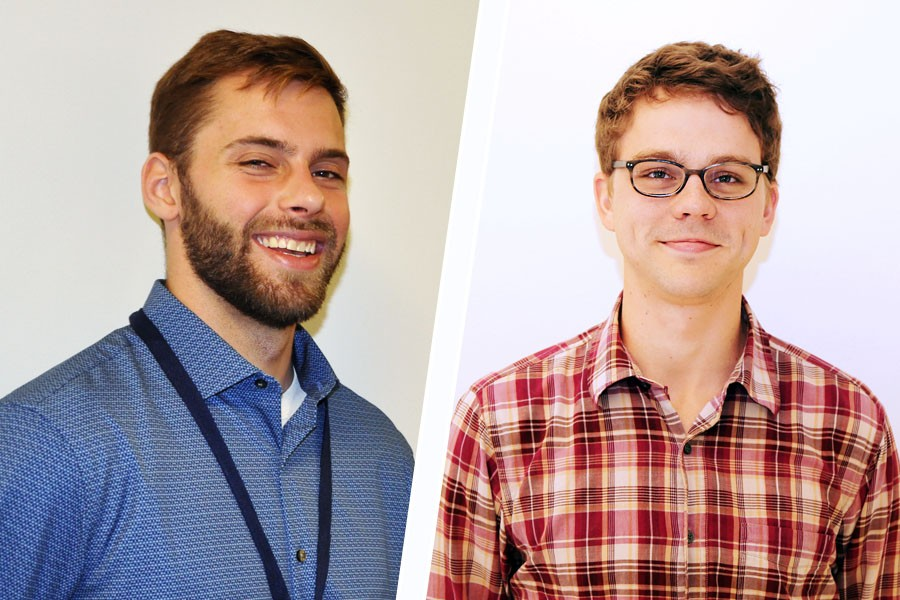 Master's student Nicholas Sianta and Ph.D. student Seth Mallett, winners of national scholarships from ADSC: The International Association of Foundation Drilling. (Photos: Belal Elnaggar, Jess Hunt-Ralston)