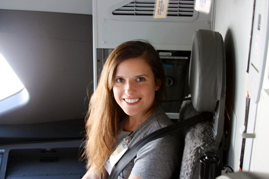 Stacie Sire on the flight deck of the 787 Dreamliner during a test flight in 2011.