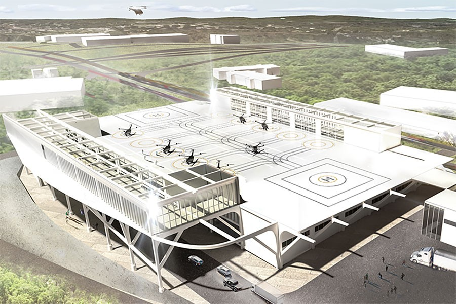 """Rendering of a two-story air-mobility hub with a landing area for four-rotor aircraft and a lower level for vehicle traffic. If the new Center for Urban and Regional Air Mobility has its way, """"vertiports"""" like this may soon be as popular as bus stops for city commuters and package transport. (Illustration: Yongmin Kim)"""