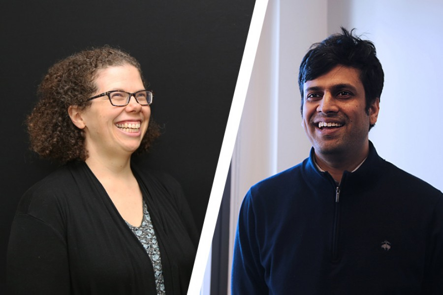 Kari Watkins and Phanish Suryanarayana, who have earned tenure and will be promoted to the rank of associate professor this summer. (Photos: Jess Hunt-Ralston)