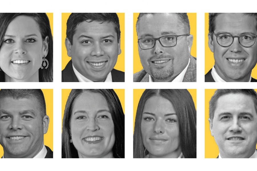A grid featuring eight head shots of ENR Southeast's 2020 Top Young Professionals