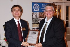 Associate Professor David Scott, right, accepts a President's Award from American Society of Civil Engineers Georgia Section President Shaukat Syed. (Photo Courtesy: John Pierson)