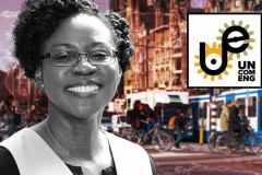 A black and white photo of Professor Adjo Amekudzi-Kennedy layered on top of a color photo of a busy city with the Uncommon Engineer Podcast logo in the corner