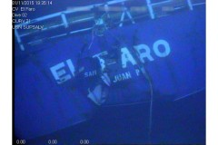 The stern of the El Faro is shown on the ocean floor where it came to rest after sinking in Hurricane Joaquin in 2015. (Photo Courtesy: National Transportation Safety Board)