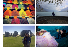 Four photos: Spices in Istanbul, Turkey; a silhouetted figure takes in the water and mountains in Interlaken, Switzerland; a young woman stands in front of Stonehenge in England; and a dive swims near colorful coral at the Great Barrier Reef.