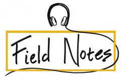 Field Notes podcast logo with headphones