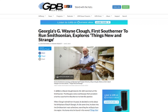 "Screenshot of GPB story about G. Wayne Clough's new book, ""Things Strange and New: A Southerner's Journey through the Smithsonian Collections."""