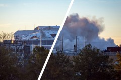 "A split-screen shot shows the very beginning and the aftermath of the Georgia Dome implosion Nov. 20, with nothing but a dust cloud remaining. (Photos: Zonglin ""Jack"" Li)"