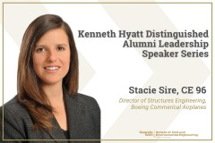 A graphic with a portrait of Stacie Sire in a blazer advertising the Hyatt Distinguished Leadership Speaker Series