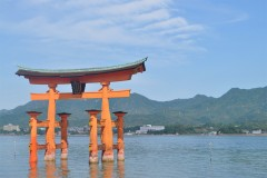 "Students in the Japan Program on Sustainable Development traveled all over Japan during the first week of the program and saw some iconic landmarks, like this ""floating"" torii gate on the island Miyajima. The group includes students from Georgia Tech, Tokyo Tech in Japan, and faculty members from Tech's College of Engineering. (Photo: Alexandra Akosa)"