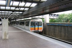 A MARTA train in the Edgewood-Candler Park transit station.