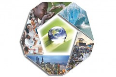 "Cover design for the new National Academy of Engineering report, ""Environmental Engineering for the 21st Century: Address Grand Challenges."" It features the Earth in the center with photos around the circumference of a child drinking water from a spigot, a piece of glacier breaking off, a bulldozer atop piles of trash, a city skyline, and professional-looking people gathered around a laptop."