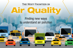 Graphic of cars, trucks and buses with clouds of smoke and a hazy city skyline. Text: The Next Frontier in Air Quality - Finding new ways to understand air pollution. (Graphic: Sarah Collins)