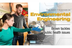 """""""The next frontier in environmental engineering: Brown tackles public health issues."""" Joe Brown and a student test environmental samples in his lab. (Photo: Gary Meek, Design: Sarah Collins)"""