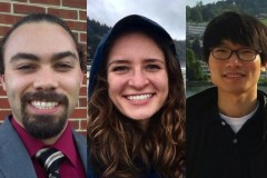 Benjamin Hurwitz, Alexandra Muscalus, and Youngjun Son, the three civil and environmental engineering students who are part of the inaugural class of the ocean science and engineering Ph.D. program.
