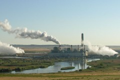 Coal-fired power plant in central Wyoming billowing smoke