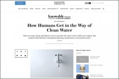 "Screenshot of Scientific American/Knowable Magazine story, ""How Humans Get in the Way of Clean Water,"" which features an image of a silver tap with water flowing out."