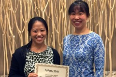 Graduate student Cynthia Lee, left, and Assistant Professor Iris Tien with their first-place infrastructure paper aware at Resilience Week 2018. (Photo Courtesy: Iris Tien)