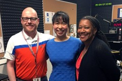 Assistant Professor Iris Tien, center, with WABE-FM's Jim Burress and Rose Scott after their conversation about Atlanta's infrastructure on the station's daily program Closer Look. (Photo Courtesy: WABE)