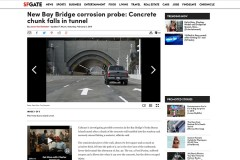 Screen shot of SFGate.com tunnel corrosion story featuring Professor Emeritus Larry Kahn.