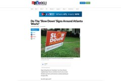 "WABE webpage for story featuring Kari Watkins, 'Do the ""slow down"" signs around Atlanta work?'"
