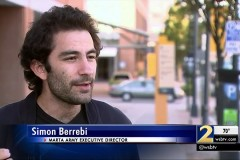 Screen shot of Ph.D. student Simon Berrebi's interview with WSB-TV in Atlanta about his group's effort to crowdfund trash cans for East Point bus stops.