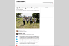 "Screeen capture of Governing op-ed by Kari Watkins and Cathering Nagel, ""Urban Parks' Emerging Role as Transportation Infrastructure"""