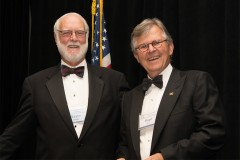 G. Wayne Clough with National Academy of Construction President Hugh Rice. Clough was inducted into the academy's 2016 class of new members Oct. 20. (Photo Courtesy: National Academy of Construction)