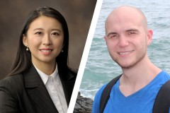 Former Ph.D. students Shelly Zhang and Eric Johnston, who have won the Sigma Xi Best Ph.D. Thesis award for 2019.