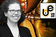 A black and white photo of Kari Watkins layered on top of a stylized image of a commuter train with the logo of the Uncommon Engineer podcast