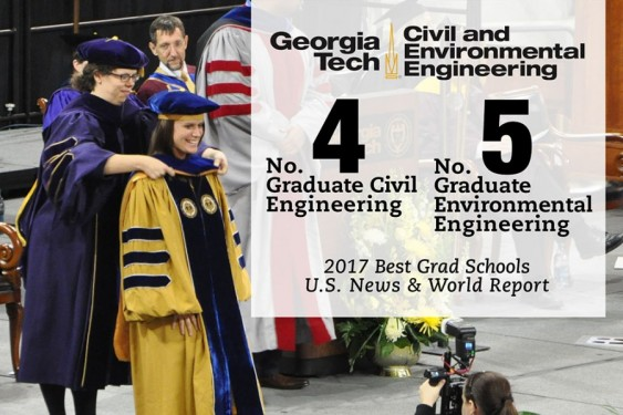 U.S. News and World Report Graduate Program Rankings: Civil #4, Environmental #5