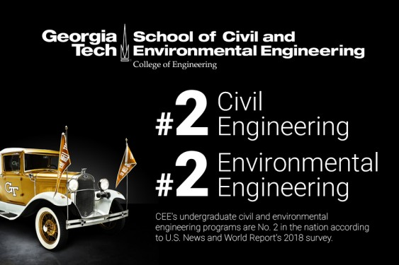CEEatGT's undergraduate civil and environmental engineering programs are No. 2 in the nation, according to U.S. News and World Report's 2018 survey.