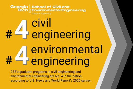 CEE's graduate programs in civil engineering and environmental engineering are No. 4 in the nation, according to U.S. News and World Report's 2020 survey. (Graphic: Amelia Neumeister)