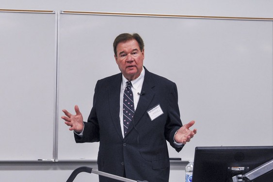John Huff, CE 68, delivered the fall 2019 lecture in the Kenneth Hyatt Distinguished Alumni Leadership Speaker Series Oct. 3. (Photo: Amelia Neumeister)