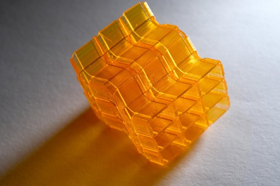 Closeup of an origami structure created through Digital Light Processing 3D printing. (Photo: Christopher Moore)