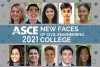 """A compilation of 10 headshots with a banner that reads, """"ASCE New Faces of Civil Engineering College 2021"""""""